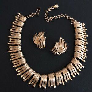 Vintage Brutalist Necklace & Earring Set